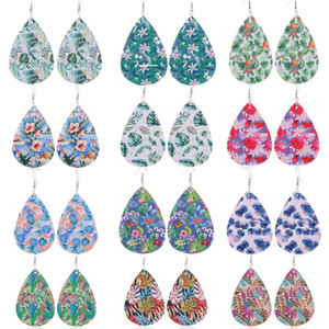 New Design Waterdrop PU Leather Earrings Printed Leaves Flower Pattern Charm Pendant Eardrop Ear Hook Earring For Women Jewelry Gifts