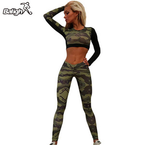 Kaufen Getrennt Quick Dry Camouflage Short Tops Shirt + Long Pants Women Trainning Exercise Sets Anzüge Sommersport SuitTracksuit