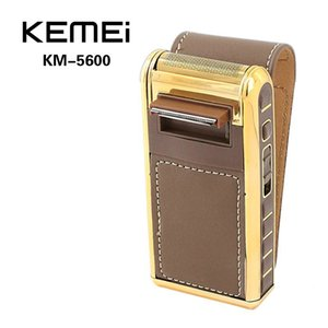 2016 Kemei Km 5600 2 In 1 Leather Case Men Electric Shaver Trimmer Reciprocating Rechargeable And Cordless Razor Vintage Coffee comecase btP