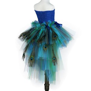 Elegant Long Tail Peacock Tutu Dress for Kids Girl Clothes Children Wedding Party Celebrity Carnival Peacock Dresses Ball Gown