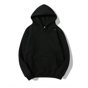 4yE3F 90% cotton season solid color sweater men's and women's couple's wear hooded plus velvet hoodie fashion brand black pullover Couple dr