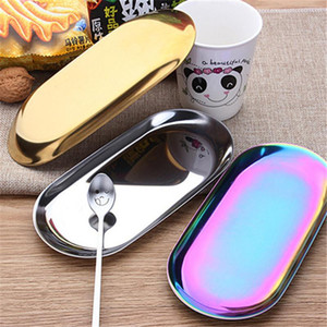 Gold Plate Tray Dessert Plate Colored Stainless Steel Oval Towel Tray Kitchen Storage Popular Product Decoration
