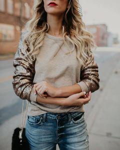 Resorte del otoño camiseta mujer manga camiseta de lentejuelas Mujer Suéteres Mujeres Tees