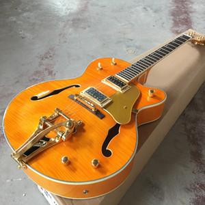 Custom shop.F hollow body jazz electric guitar, orange color standard custom guitarra,Rosewood fingerboard Custom gitaar.