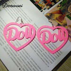 Donarsei Mode Dou Herz Acryl-Ohrringe für Frauen übertriebenen Brief Heartbreaker Flamme-Tropfen-Ohrringe Nachtclub-Party