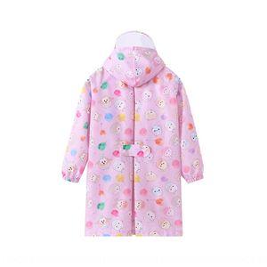 capa de chuva 6kuPi dos desenhos animados Q versão infantil com mochila transparente Body Bag veste as roupas do corpo Cloak brim jumpsui bebês meninas dos meninos