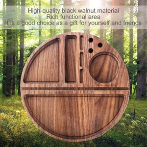 REANICE Wood Tobacco Rolling Tray Filling Papers Back Flip Smoking Accessories Grinder Hole Black Walnut Wooden Box Single Layer