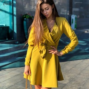 Women Sashes Bow Tie A Line Party Dress Ladies Long Sleeve V Neck Elegant Sexy Dress 2020 New Fashion Winter Dress Mini