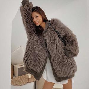 OFTBUY 2020 nuevo de la manera Marca Piel real chaqueta de la capa del invierno de las mujeres prendas de vestir exteriores encapuchada de la piel natural de Calle floja de gran tamaño