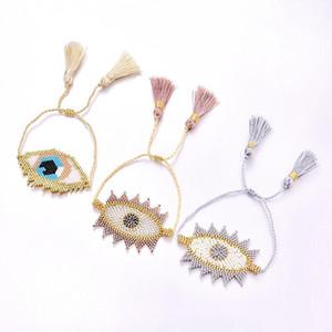 2019 New Evil Eye Bracelet Fashion Bohemia MIYUKI Bracelets for Women Summer Seed Beads Tassel Beads Handmade Charm Jewelry Gift