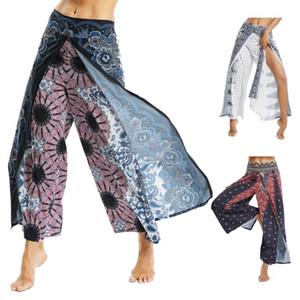Academias Leggings executando CROSS1946 Impresso estiramento cintura alta Yoga calças soltas Side Slits respirável calças de yoga femininas