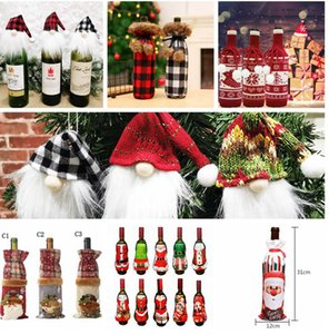 Christmas Red Wine Bottle Cover Bag Xmas Party Dinner Table Decor Gifts Wine Bottle Sweater Xmas Party Decorations LJJK2440