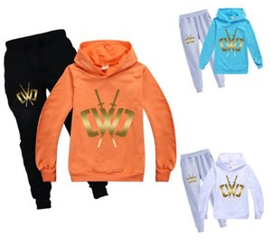 Cross border e-commerce source: Children's Hoodie men's and women's long sleeves + black grey trousers set 256
