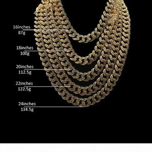 Men's Iced Out Chain Hip Hop Necklace Jewelry Full Crystal Rhinestone Gold Miami Cuban Link Chains 8inch 16inch 18inch 20inch 22inch 24