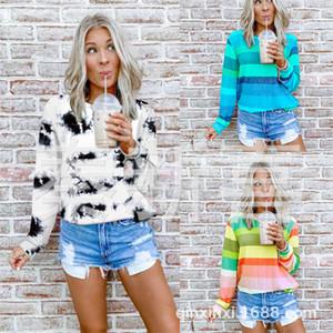 Progettista delle donne magliette Tintura a righe donna Tops O-collo del manicotto lungo allentato di autunno della molla signore casuali Tees