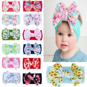 13 colors 2020 European and American new children's printed bowknot super soft nylon hairband boho girl baby hairband