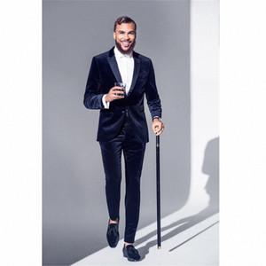 Última bragas de la capa de terciopelo azul marino Diseño Hombres Traje formal Slim Fit Tuxedo 2 piezas Blazer Prom Party encargo se adaptan a Terno Masculino OY6F #