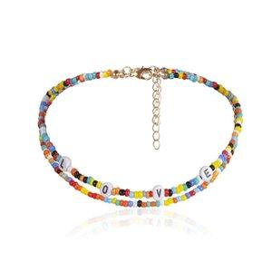 New Handmade Bohemian Beaded Choker Collar Necklace Women Vsco Girl Bead Bracelets Love Initial Letter Chocker Necklaces Boho Jewelry