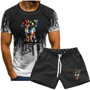 새로운 스포츠 캐주얼 정장 남성 운동복 패션 디자이너 남성 디자이너 옷 두 개 정장 여름 티셔츠와 반바지 짧은 소매 티셔츠