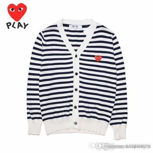 2018 New Quality Com Des Garcons C216 White Red Heart cotton cardigan Unisex Casual Thin V-Neck Sweatershirts CDG Play Men Women Hoodie Coat