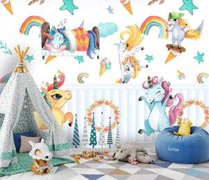Bacal 3D Hand Painted Cartoon Rainbow Animal Kindergarten Kid Baby Room Bedroom Wardrobe Wallpaper Wall Mural Sticker Home Decor