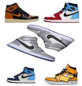 2020 topretro NakeskinJordanienAJ1 Aj 1 Luftqualität Turnschuhe Männer Frauen fliegen Basketball Turnschuhe chaussures ShatterDdoo #