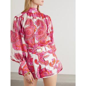 2020 camisa de seda de primavera y verano de las mujeres + ropa de alta calidad de manga larga mangas linterna retro informal impresión floja de la camisa WOM