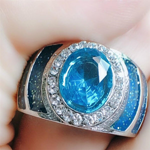 Jóias Choucong Marca New Vintage original 925 Sterling Silver Blue Crystal CZ pedras preciosas partido diamante banda mulheres anel de casamento para o presente do amante