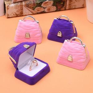 Tote Shape Lovely Velvet Wedding Engagement Ring Box For Earrings Necklace Bracelet Jewelry Display Gift Box Holder ZA5717