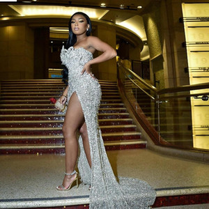 Brilliant Sequins Crystal Beaded Evening Dresses Sexy Strapless Split Prom Dress Party Gown celebrity dresses vestidos de fiesta