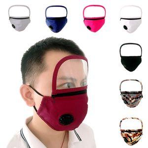 Máscaras de proteção de algodão máscara destacável Eyeshield face Zipper reutilizável Dustproof cobrir a boca Adulto exterior lavável DDA256