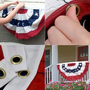 EE.UU. plisado semicírculo Aficionado Bandera americana Estrella y rayas hebilla ojales bandera americana decoración al aire libre del jardín de la bandera 90 * 45cm FFA4257