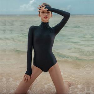 Rash Guard Mergulho One Piece Swimsuit Sólidos manga comprida Mulheres Maiô Natação Rash Guard Surf Natação Rashguard Suit