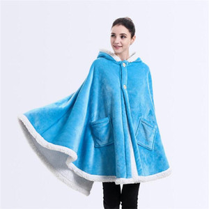 Wholesale Solid Color Blankets with Pockets Thicken Soft Women Hooded Blanket Winter Plush Shawl Couch sofa throw Fleece Wrap Home Textiles