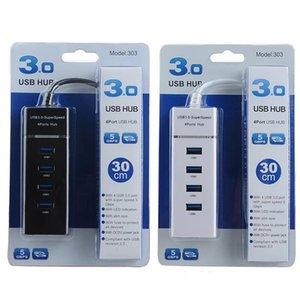 Buena 4 puertos USB Hub USB 3.0 de alta velocidad de transmisión Hub Adaptador USB de la extensión portátil Splitter para el cuaderno del ordenador portátil PC