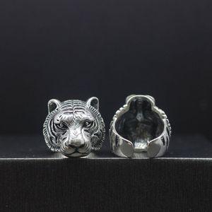 Original Design Tiger Sterling Silver Ring Vibrating Ring Explosion Net Red Temperature Measurement Titanium Steel Finger Powerful Evil Evil