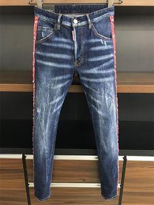 20ss Brand Fashion Designer Ripped Biker Mens casual Jeans Slim Fit Motorcycle Biker Denim For Man S Black motorcycle rock revival jean QA25