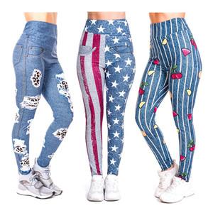 Zohra 3d цифровая печать джинсовой серии девять-точка леггинсы европейский и высокая талия брюки йоги американских женщин