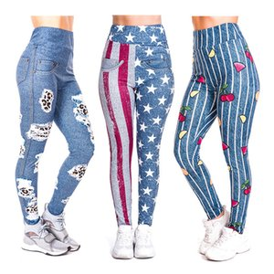 zohra 3d digital printing denim series nine-point leggings European and American women's high waist yoga pants