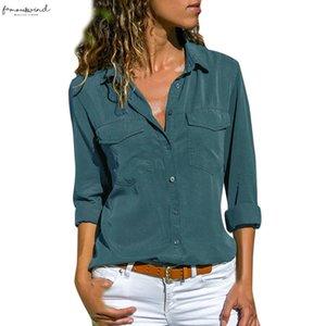 Women Blouse Long Sleeve Turn Down Collar Pockets Button Front Shirt Lady Tee Shirt Femme Plus Size Camiseta Feminina New