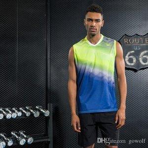 전문 스포츠 빠른 건조 통기성 배드민턴 셔츠 남자 탁구 조끼 의류 탱크 탑 게임 민소매 T 셔츠