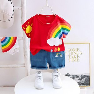 2020 Summer Toddler Infant Kids Baby Boys Clothes Short Sleeve Cartoon Rainbow Printed T-Shirt Jeans Denim Shorts Outfits Set#P4