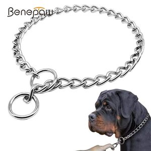 Benepaw Stainless Steel Slip P Pet Dog Chain Comfortable Heavy Duty Training Choke Collar For Dogs Covered With Galvanic Plating CX200723