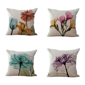 Beautiful Flower Printing Cushion Cover Plants Cotton Linen Throw Pillow Case Decorative Pillowcase For Sofa Cushion Cover
