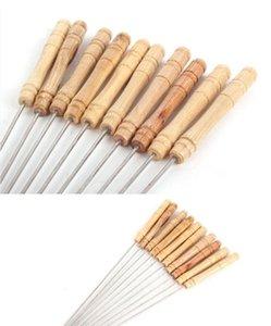 Kebap Şiş Ahşap Saplı Paslanmaz Çelik Barbekü Şiş Barbekü Izgara Aksesuarları kebaplar Seti Yeniden kullanılabilir barbekü Sticks Sticks