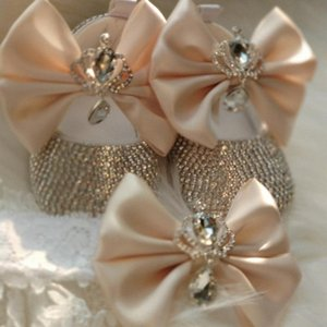 Dollbling Luxury Стразы Baby Girl Обувь First Walker оголовье Set Искорка Bling Кристаллы принцесса обувь Baby Shower подарки SH TmW8 #
