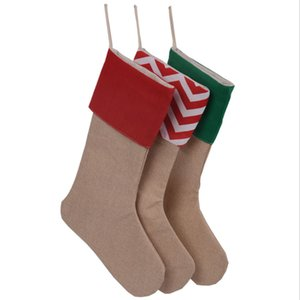 30*45cm Children Long Christmas Stocking Gift Bags Canvas Xmas Candy Stocking Plain Dot Burlap Decorative Socks Bag