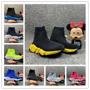 Originais Crianças Knit velocidade Sock Runner malha Mid altos calçados casuais Trainers Vinho tinto sapatilha Crianças Meninas Meninos Top Botas Sneakers