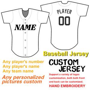 Números hombres de béisbol de encargo Jersey bordado y nombres de los equipos, los pls encargo añade declaraciones en TY fin