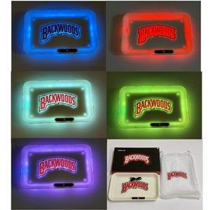 Carry Bag ile Backwoods Glow Tepsi LED Işıklar Rolling Tepsi 278mm * 208mm Parlayan Işıklı 420 Kuru Ot Tütün Depolama Tepsi Tutucu Quick Charge